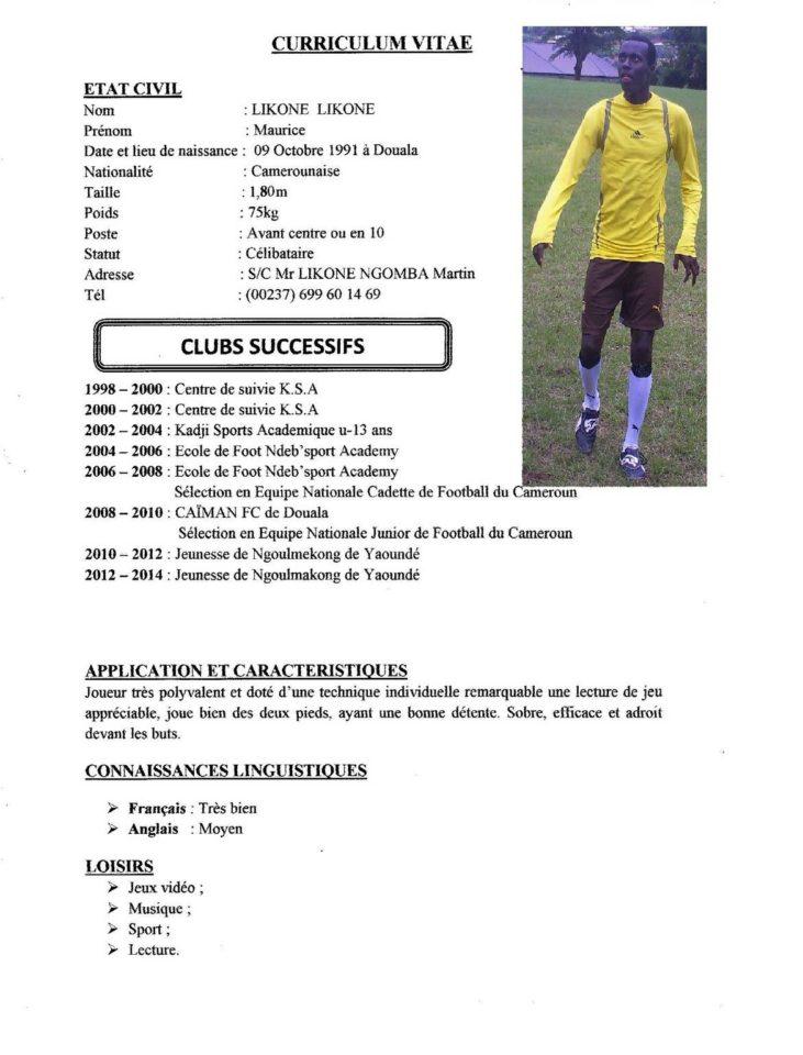 Cv Sportif Foot Joueur