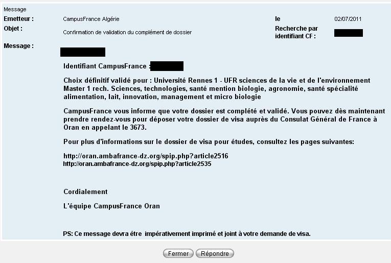 Imprimer Confirmation Validation Complement Dossier Salam Alaikou