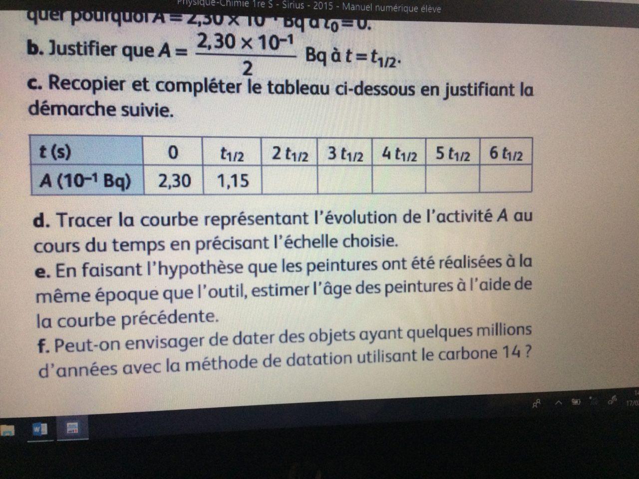 devoir chimie première s