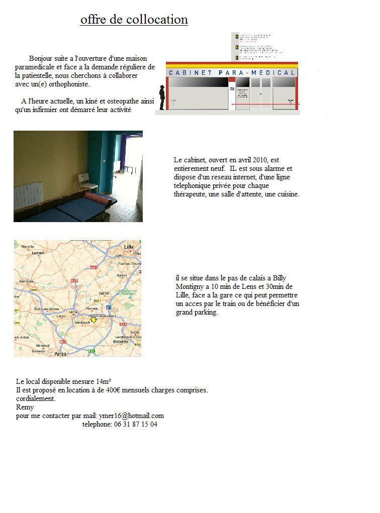 Local dans cabinet paramedical cabinet situe billy montigny sur a - Cabinet medical montigny les cormeilles ...